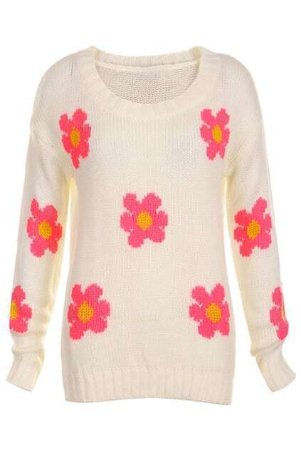 Pink Flowers Main White Jumper