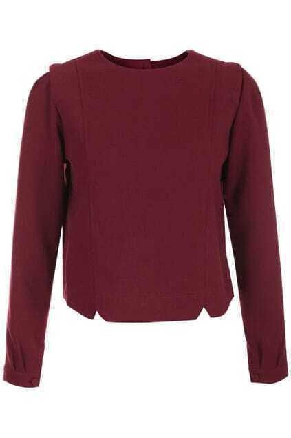 Furking Design Buttoned Back Dark-red Pullover