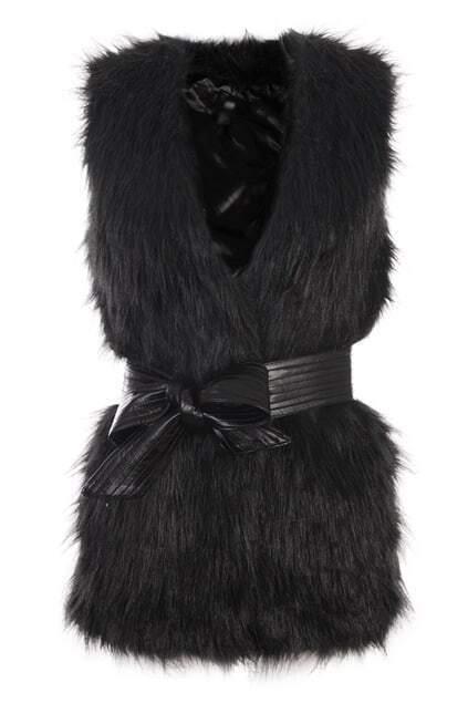 Faux Fur Longline Black Vest