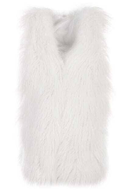 White Main Faux Fur Vest