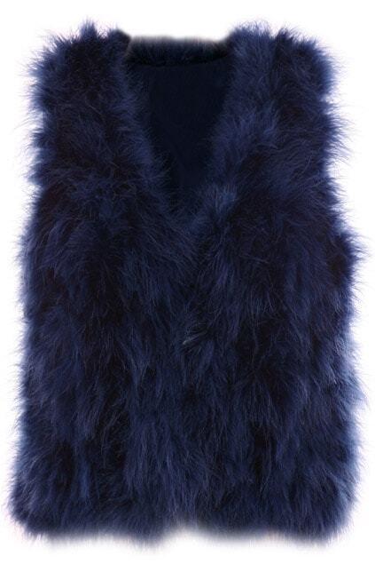 Ostrich Hair Navy Blue Vest