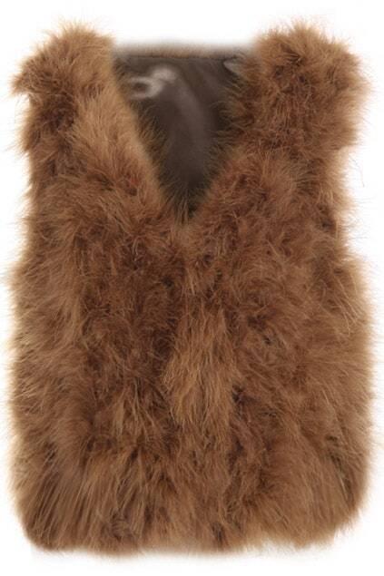 Ostrich Hair Coffee Vest