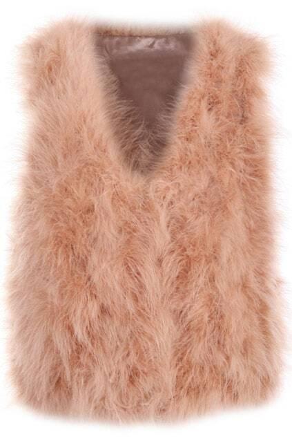 Ostrich Hair Nude Pink Vest