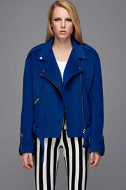 Asymmetric Zip Blue Woolen Coat