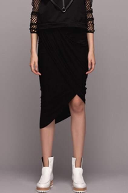Asymmetric Draped Cross Black Skirt
