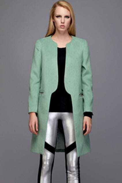 Green Collarless Woolen Coat