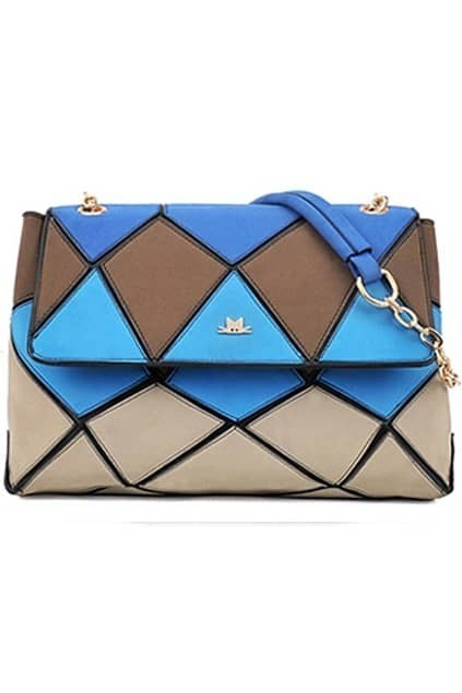 Colorful Jigsaw Blue Satchel