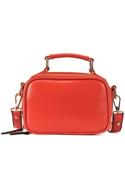 Red Zippered Faux Leather Bag