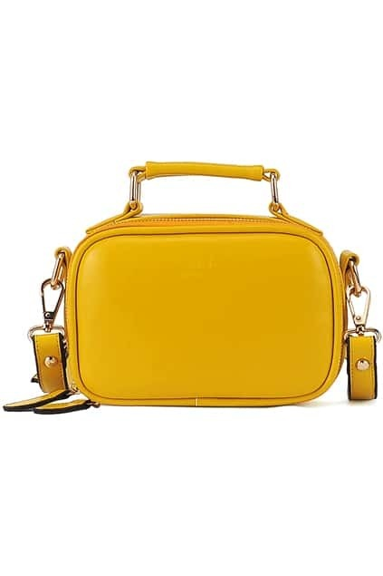 Yellow Zippered Faux Leather Bag