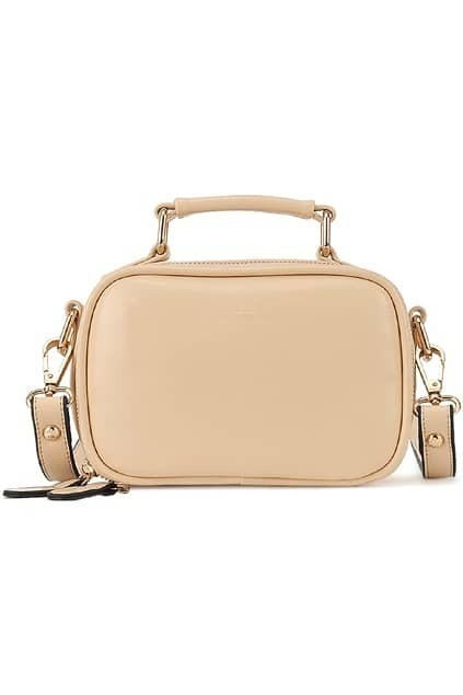 Cream Zippered Faux Leather Bag