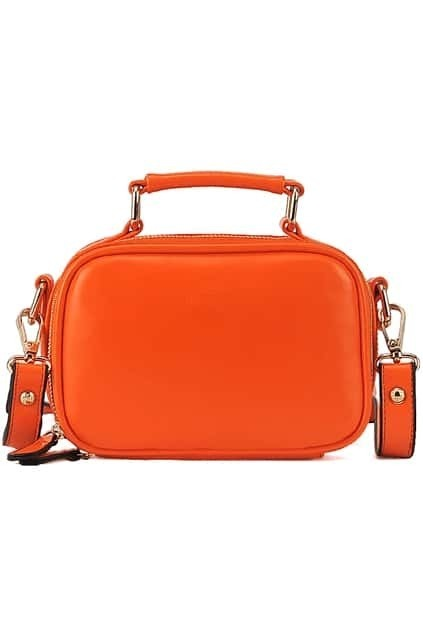 Orange Zippered Faux Leather Bag