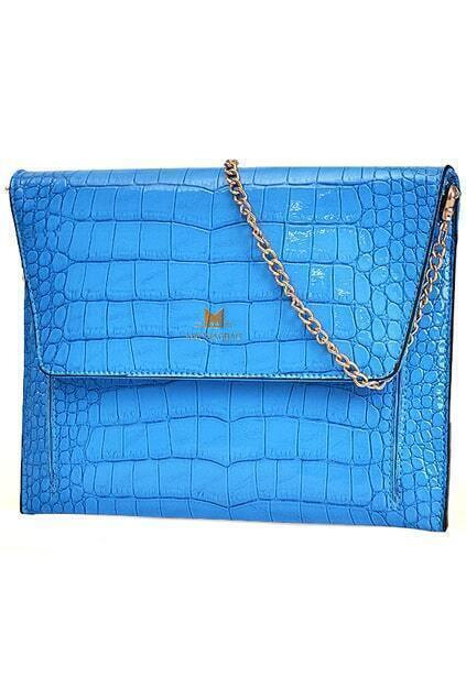 Crocodile Pattern Blue Pochette Shoulder Bag