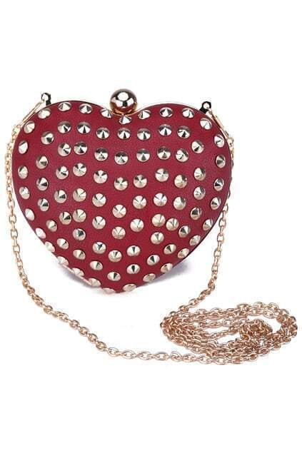 Riveted Heart-shaped Red Bag