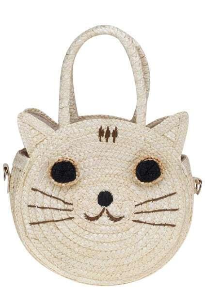 Smiling Kitty White Straw Bag