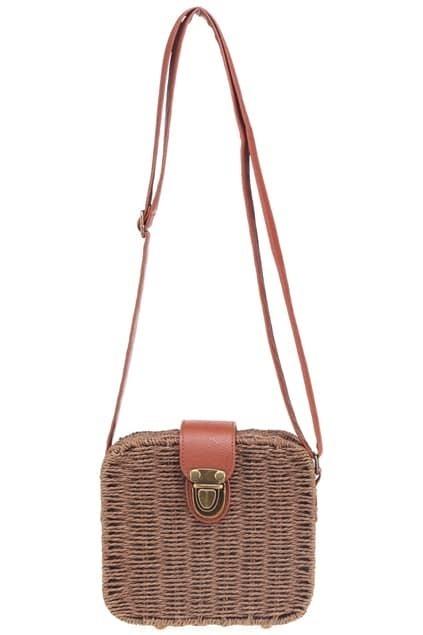 Dual-tone Studded Coffee-colored Straw Bag