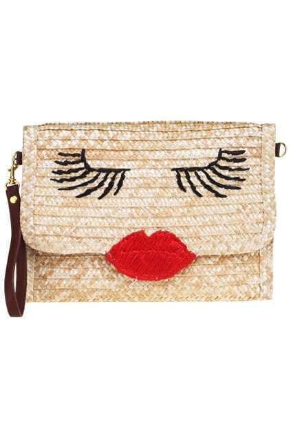 Sexy Red Lips Straw Bag