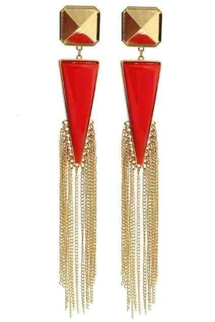 Pyramid Triangle Jewel Tassel Earrings