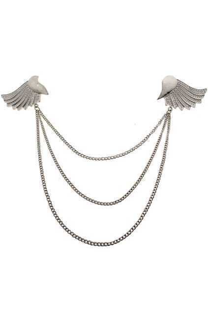 Triple Chains Wing Brooch