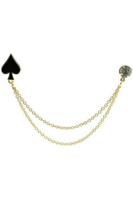 Poker Charm Double Chains Brooch