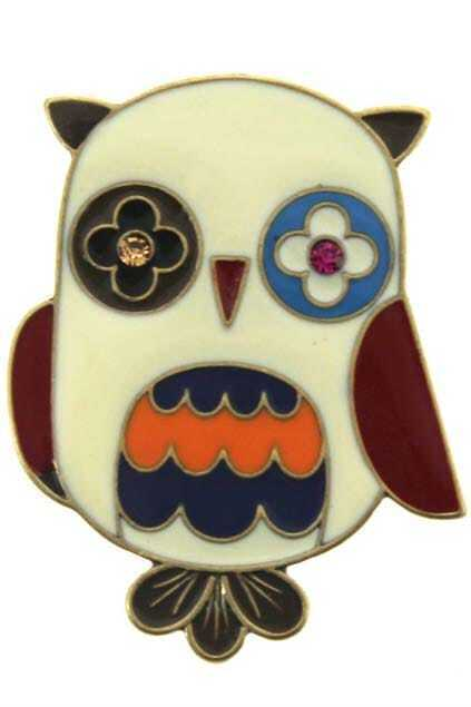 Diamante Owl Charm Brooch