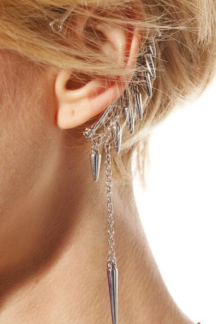 Chain Studed Silver Earrings