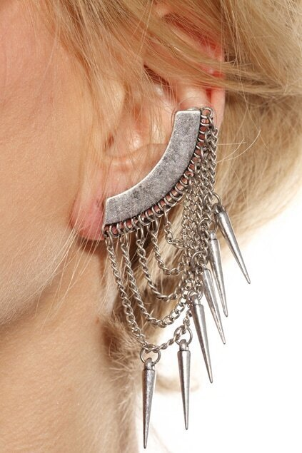 Drop Chain and Spike Earring Cuff