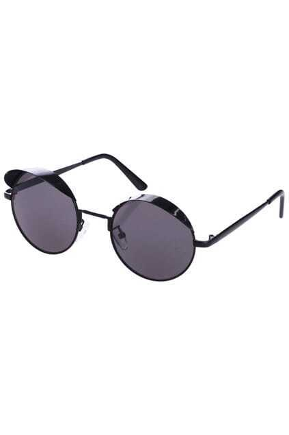 Peak-shaped Black Round Sunglasses