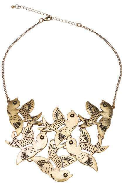 Flying Lucky Birds Copper Necklace