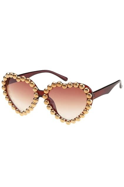 Diamante Heart-shaped Frame Brown Sunglasses