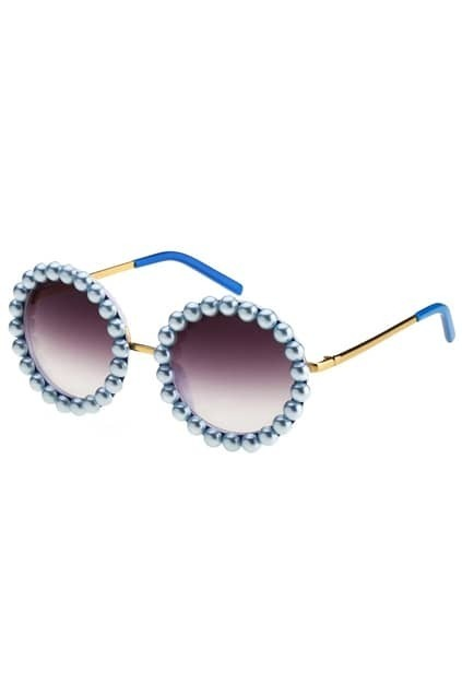 Blue-tone Diamamnte Round Sunglasses