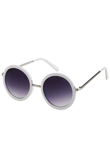 White Round Frame Sunglasses