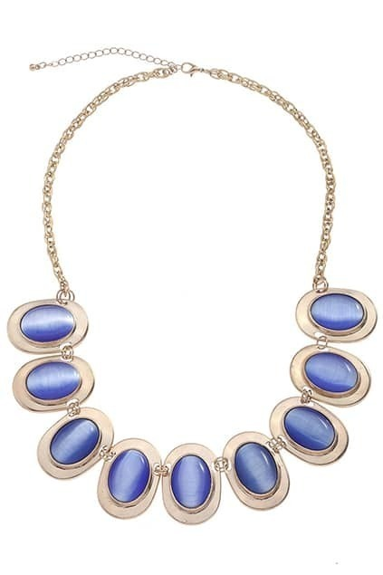 Royalblue Diamante Plating Pendant Necklace