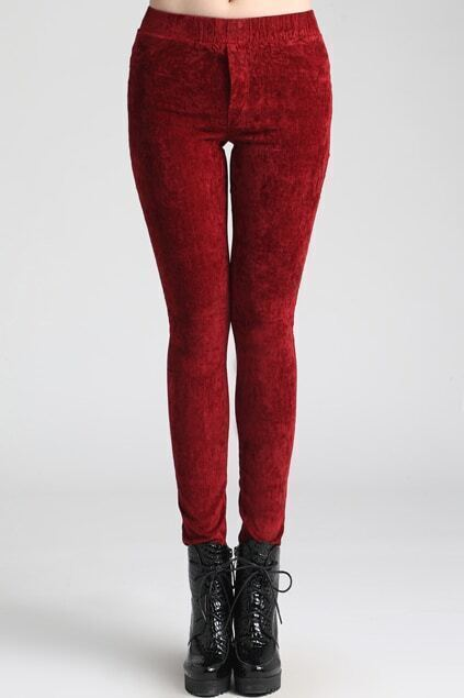 Dark-red Velvet Leggings