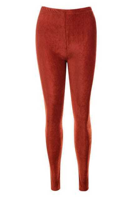 Vertical Stripes Dark-orange Leggings