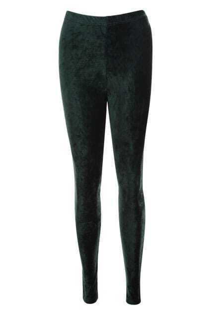 Vertical Stripes Dark-green Leggings