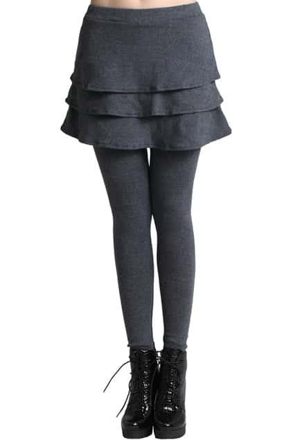 ROMWE Layered Skirt Solid Gray Leggings