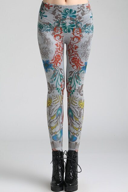 Retro patterns Grey Leggings