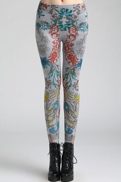Retro patterns Grey Leggings