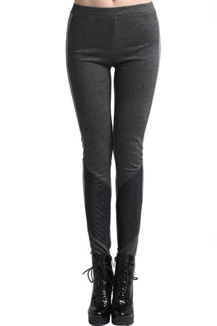 ROMWE Dual-tone Faux Leather Detail Charcoal-gray Leggings
