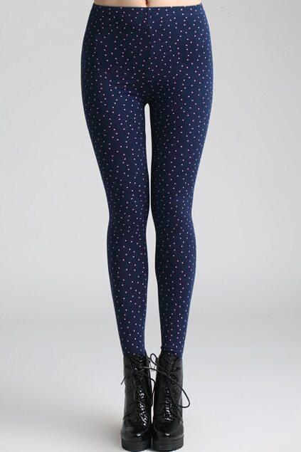 Heart Patterns Dark-blue Leggings