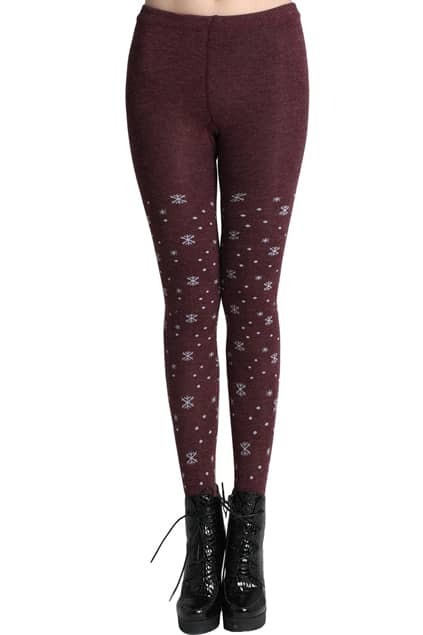 ROMWE Snowflake Patterns Tribal Wine-red Leggings