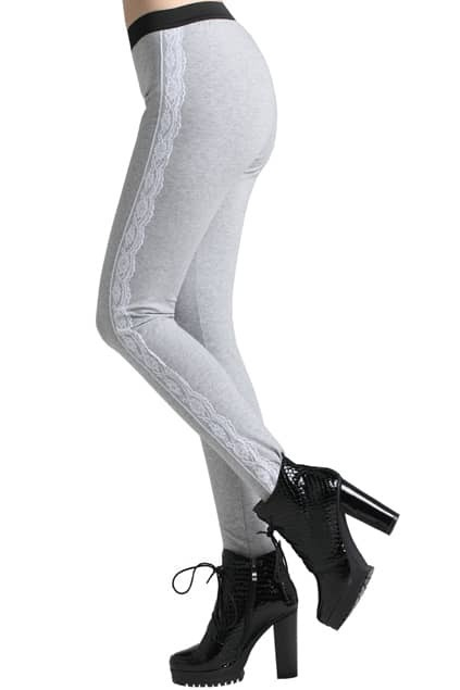 ROMWE Lace Panel Gray Leggings