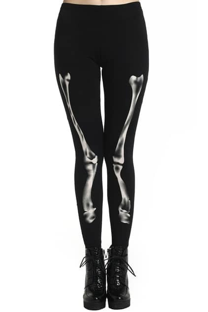 ROMWE Black X-ray Bone Print Black Leggings