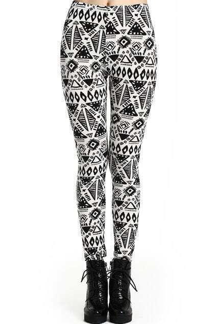 ROMWE Geometric Pattern Black-white Tribal Leggings