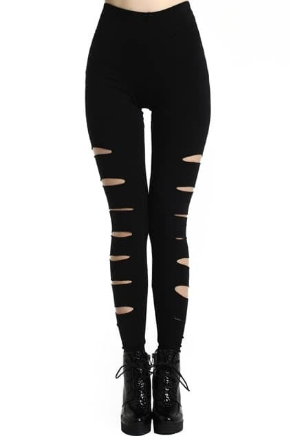 ROMWE Broken Hole Slit Distressed Black Leggings