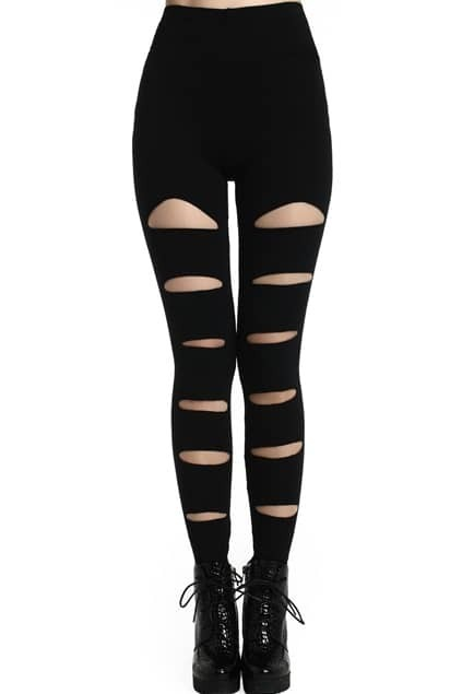 ROMWE Front Broken Hole Slit Black Leggings