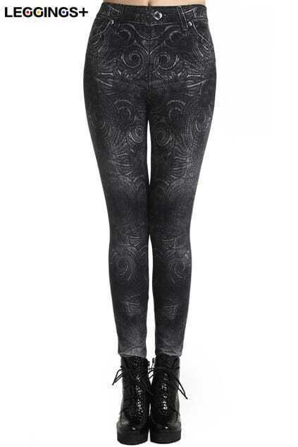 ROMWE Circle Print Black Leggings