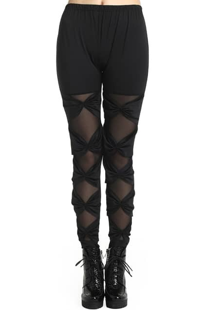 ROMWE Binding Bowknot Lace Sheer Mesh Panel Black Leggings