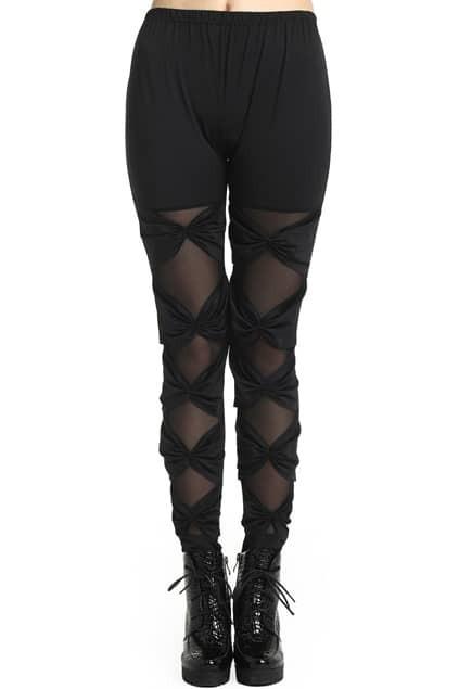 ROMWE Binding Bowknot Lace Sheer Mesh Panel Black Leggings