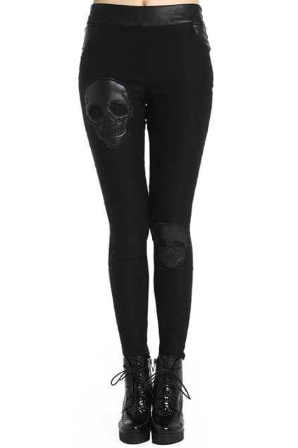 ROMWE Fake Leather Skull Black Leggings